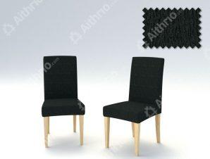 Σετ (2 Τμχ) Ελαστικά Καλύμματα Καρεκλών Με Πλάτη Valencia-Μαύρο