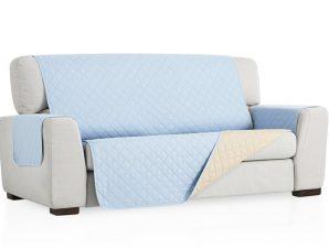 Σταθερά Καλύμματα Καναπέ, Πολυθρόνας Διπλής Όψης- σχ. Universal Quilt – C/24 Ανοιχτό Μπλε – Τετραθέσιος-10+ Χρώματα Διαθέσιμα-Καλύμματα Σαλονιού