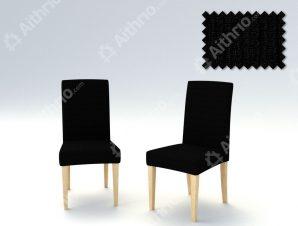 Σετ (2 Τμχ) Ελαστικά Καλύμματα Καρέκλας Με Πλάτη Creta – C/11 Μαύρο