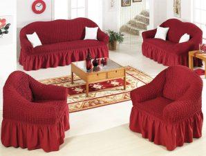 Ελαστικό κάλυμμα καναπέ 70% βαμβάκι 30% λύκρα σετ 3 τεμάχια Αίθριο-Μπορντώ-6+ Χρώματα Διαθέσιμα-Καλύμματα Σαλονιού-Ίσια πλάτη + Αχιβάδα
