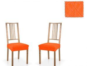 Σετ (2 Τμχ) Ελαστικά Καλύμματα-Καπάκια Καρεκλών Karen-Πορτοκαλί