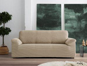 Ελαστικά Καλύμματα Προσαρμογής Σχήματος Καναπέ Dual Alaska – C/30 Μπεζ/Λευκό – Τριθέσιος-10+ Χρώματα Διαθέσιμα-Καλύμματα Σαλονιού
